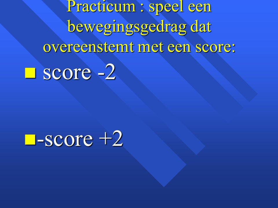 Practicum : speel een bewegingsgedrag dat overeenstemt met een score: n score -2 n -score +2