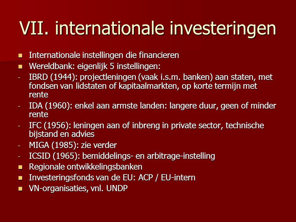 VII. internationale investeringen Internationale instellingen die financieren Internationale instellingen die financieren Wereldbank: eigenlijk 5 inst