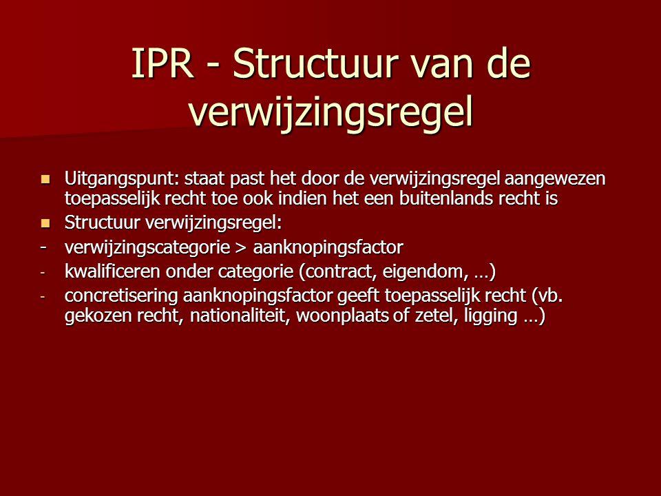 IPR - Structuur van de verwijzingsregel Uitgangspunt: staat past het door de verwijzingsregel aangewezen toepasselijk recht toe ook indien het een bui