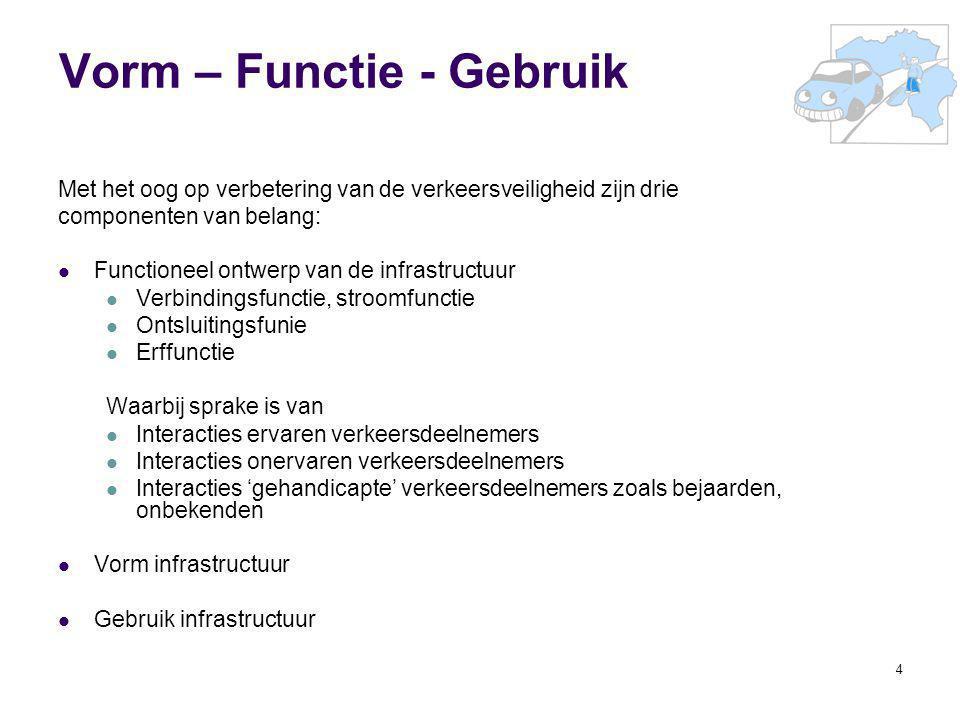 4 Vorm – Functie - Gebruik Met het oog op verbetering van de verkeersveiligheid zijn drie componenten van belang: Functioneel ontwerp van de infrastru
