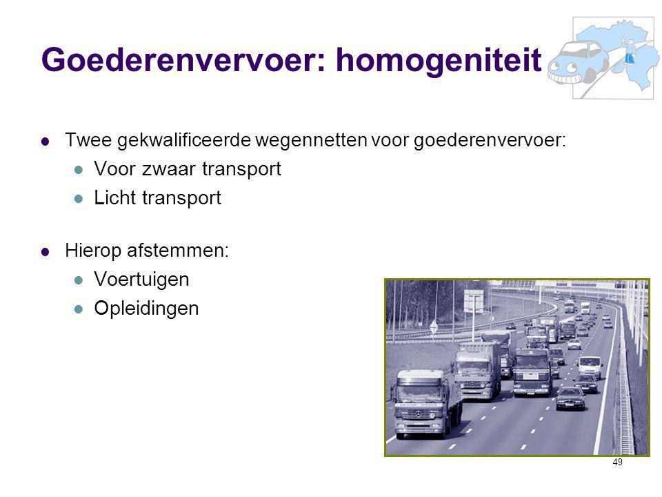 49 Goederenvervoer: homogeniteit Twee gekwalificeerde wegennetten voor goederenvervoer: Voor zwaar transport Licht transport Hierop afstemmen: Voertui
