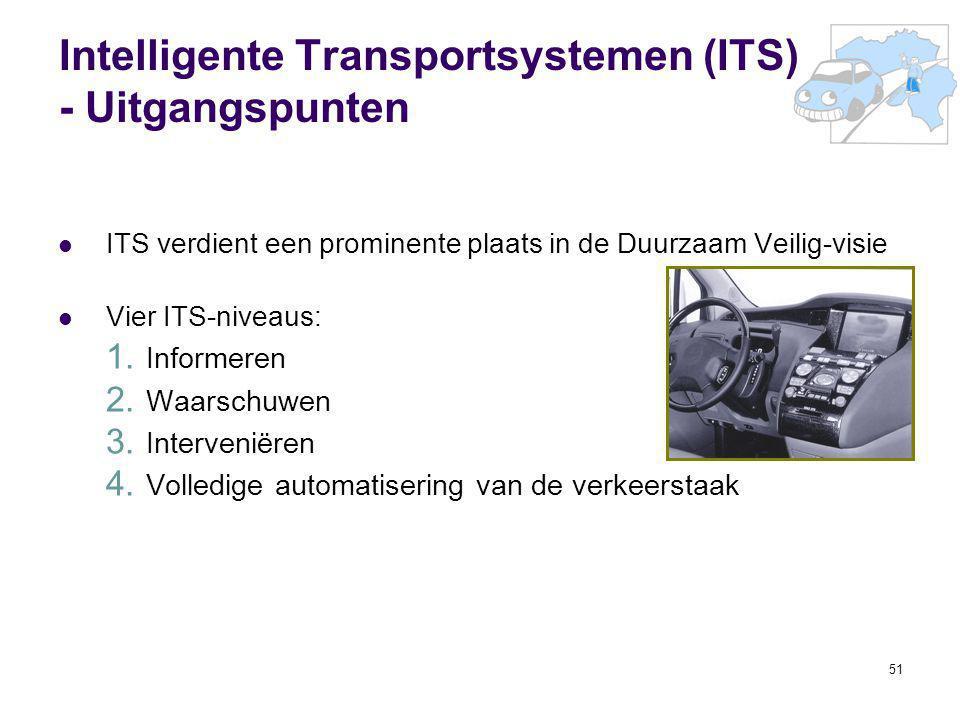 51 Intelligente Transportsystemen (ITS) - Uitgangspunten ITS verdient een prominente plaats in de Duurzaam Veilig-visie Vier ITS-niveaus: 1. Informere