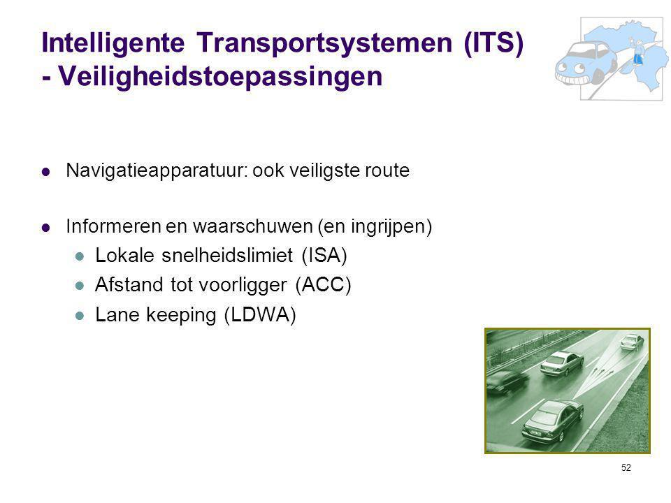 52 Intelligente Transportsystemen (ITS) - Veiligheidstoepassingen Navigatieapparatuur: ook veiligste route Informeren en waarschuwen (en ingrijpen) Lo