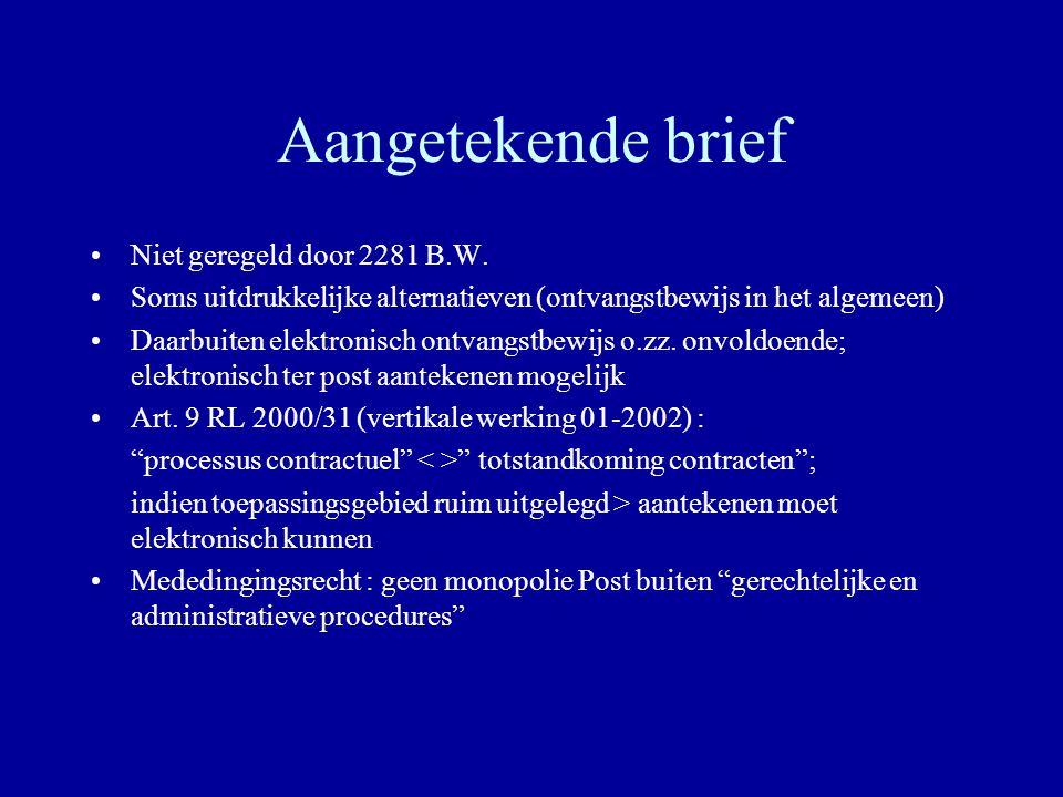 Aangetekende brief Niet geregeld door 2281 B.W. Soms uitdrukkelijke alternatieven (ontvangstbewijs in het algemeen) Daarbuiten elektronisch ontvangstb