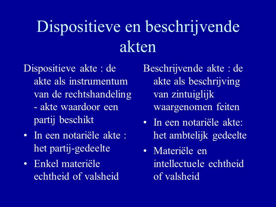 Dispositieve en beschrijvende akten Dispositieve akte : de akte als instrumentum van de rechtshandeling - akte waardoor een partij beschikt In een not