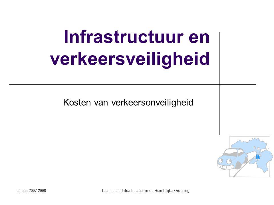 cursus 2007-2008Technische Infrastructuur in de Ruimtelijke Ordening Kosten verkeersonveiligheid Maatschappelijke kosten (Cost 313, R.