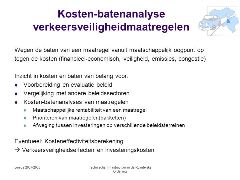 cursus 2007-2008Technische Infrastructuur in de Ruimtelijke Ordening Kosten-batenanalyse verkeersveiligheidmaatregelen Wegen de baten van een maatregel vanuit maatschappelijk oogpunt op tegen de kosten (financieel-economisch, veiligheid, emissies, congestie) Inzicht in kosten en baten van belang voor: Voorbereiding en evaluatie beleid Vergelijking met andere beleidssectoren Kosten-batenanalyses van maatregelen Maatschappelijke rentabiliteit van een maatregel Prioriteren van maatregelen(pakketten) Afweging tussen investeringen op verschillende beleidsterreinen Eventueel: Kosteneffectiviteitsberekening  Verkeersveiligheidseffecten en investeringskosten