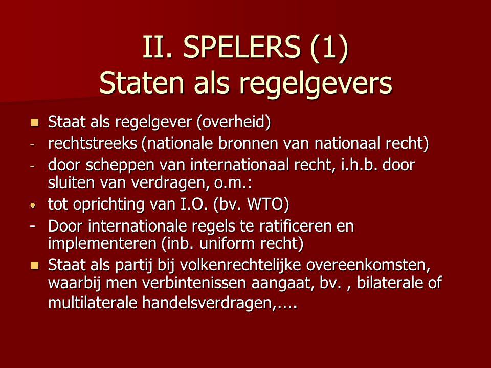 II. SPELERS (1) Staten als regelgevers Staat als regelgever (overheid) Staat als regelgever (overheid) - rechtstreeks (nationale bronnen van nationaal