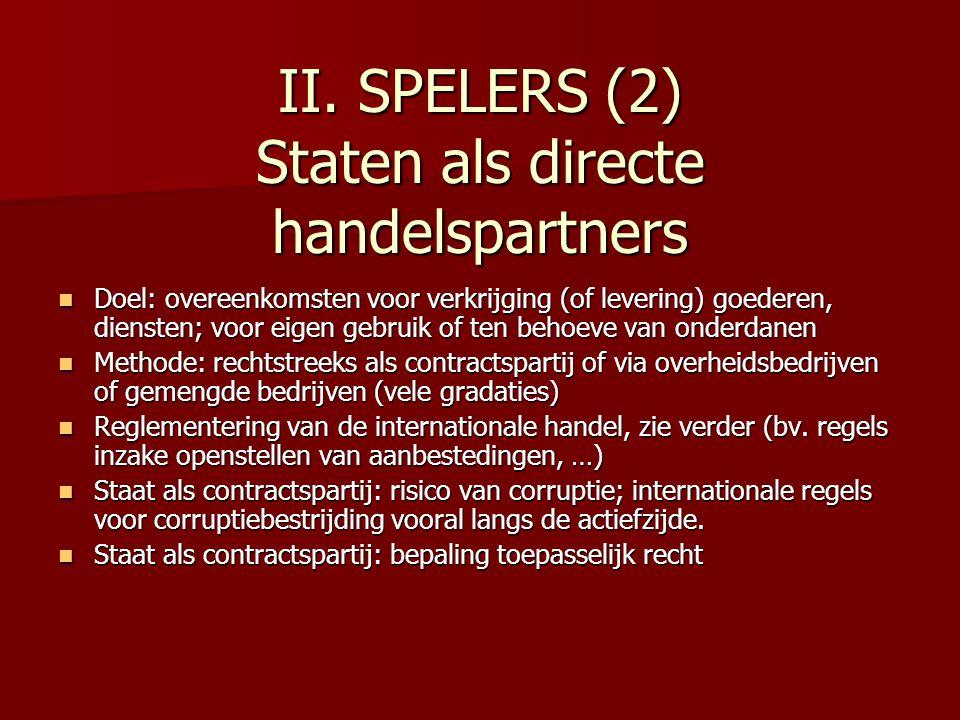 II. SPELERS (2) Staten als directe handelspartners Doel: overeenkomsten voor verkrijging (of levering) goederen, diensten; voor eigen gebruik of ten b