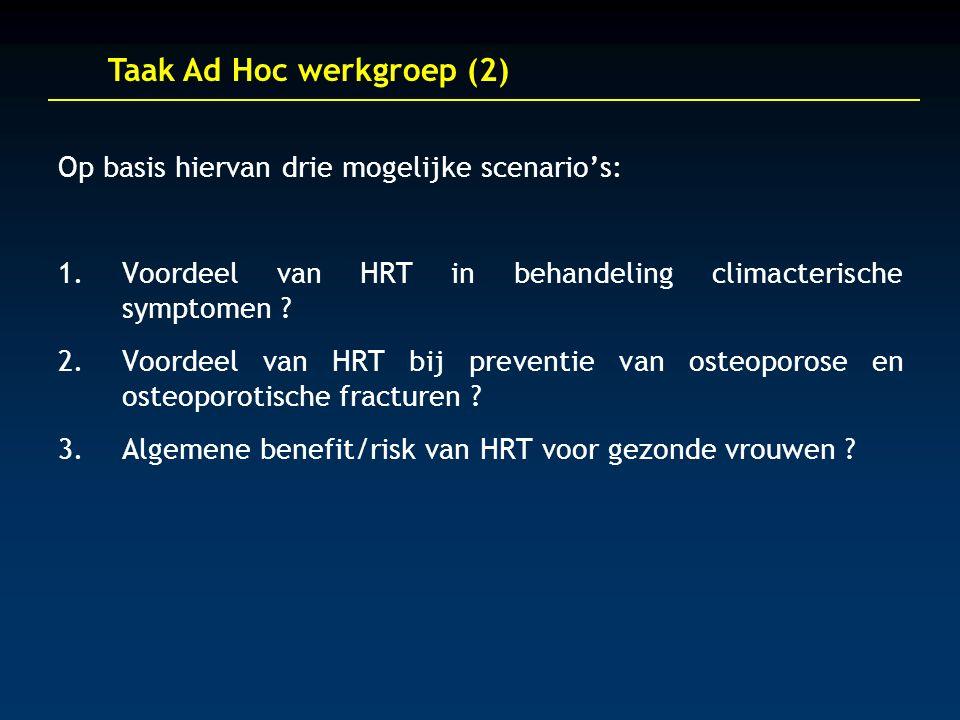 Taak Ad Hoc werkgroep (2) Op basis hiervan drie mogelijke scenario's: 1.Voordeel van HRT in behandeling climacterische symptomen .