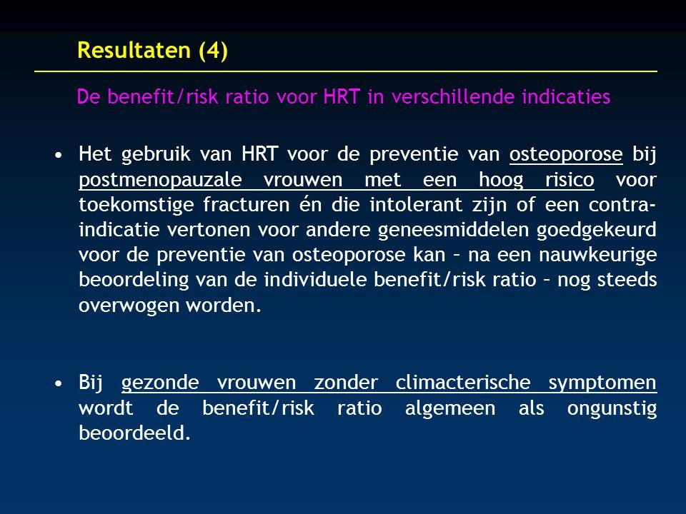 Resultaten (4) De benefit/risk ratio voor HRT in verschillende indicaties Het gebruik van HRT voor de preventie van osteoporose bij postmenopauzale vrouwen met een hoog risico voor toekomstige fracturen én die intolerant zijn of een contra- indicatie vertonen voor andere geneesmiddelen goedgekeurd voor de preventie van osteoporose kan – na een nauwkeurige beoordeling van de individuele benefit/risk ratio – nog steeds overwogen worden.
