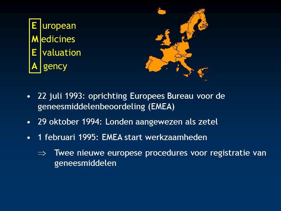 E E uropean M M edicines E E valuation A A gency 22 juli 1993: oprichting Europees Bureau voor de geneesmiddelenbeoordeling (EMEA) 29 oktober 1994: Londen aangewezen als zetel 1 februari 1995: EMEA start werkzaamheden  Twee nieuwe europese procedures voor registratie van geneesmiddelen