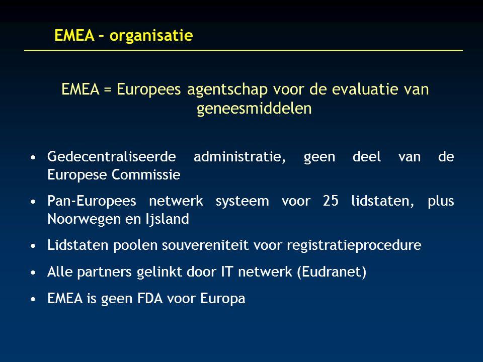EMEA – organisatie Gedecentraliseerde administratie, geen deel van de Europese Commissie Pan-Europees netwerk systeem voor 25 lidstaten, plus Noorwegen en Ijsland Lidstaten poolen souvereniteit voor registratieprocedure Alle partners gelinkt door IT netwerk (Eudranet) EMEA is geen FDA voor Europa EMEA = Europees agentschap voor de evaluatie van geneesmiddelen