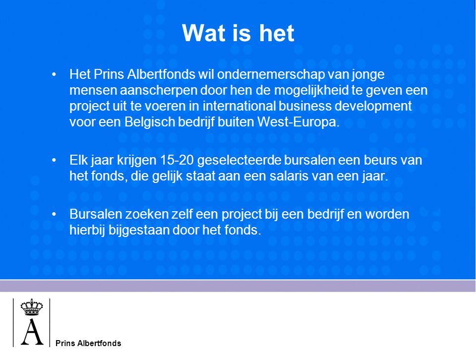 Wat is het Het Prins Albertfonds wil ondernemerschap van jonge mensen aanscherpen door hen de mogelijkheid te geven een project uit te voeren in international business development voor een Belgisch bedrijf buiten West-Europa.