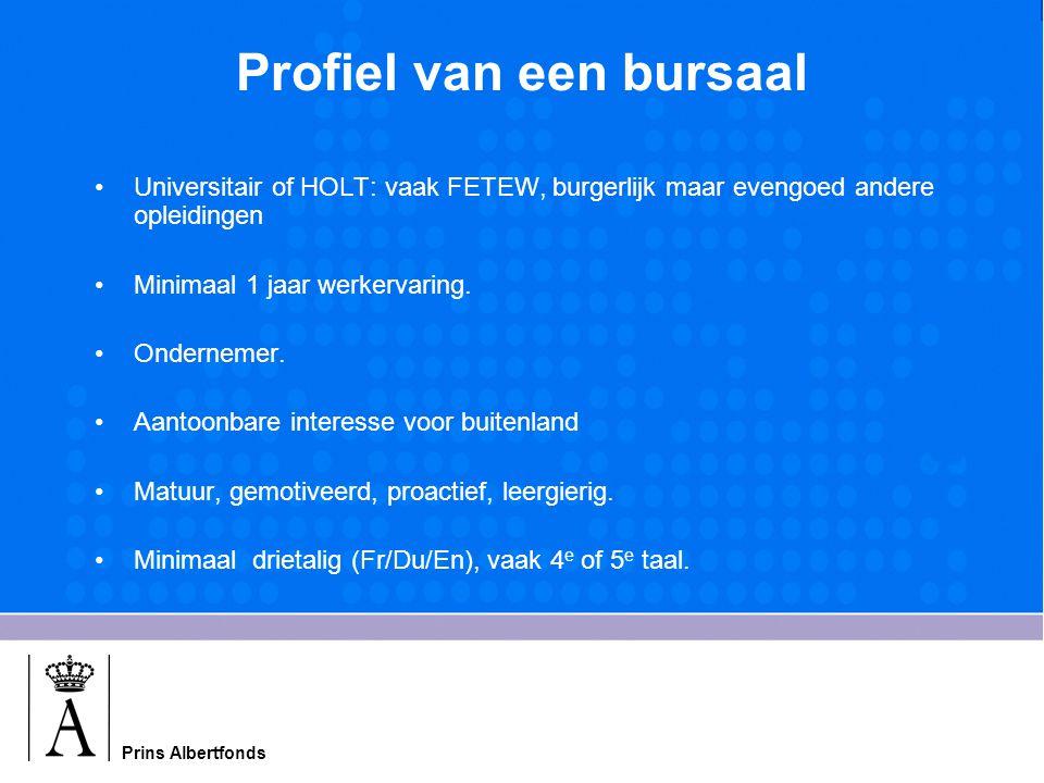 Prins Albertfonds Profiel van een bursaal Universitair of HOLT: vaak FETEW, burgerlijk maar evengoed andere opleidingen Minimaal 1 jaar werkervaring.