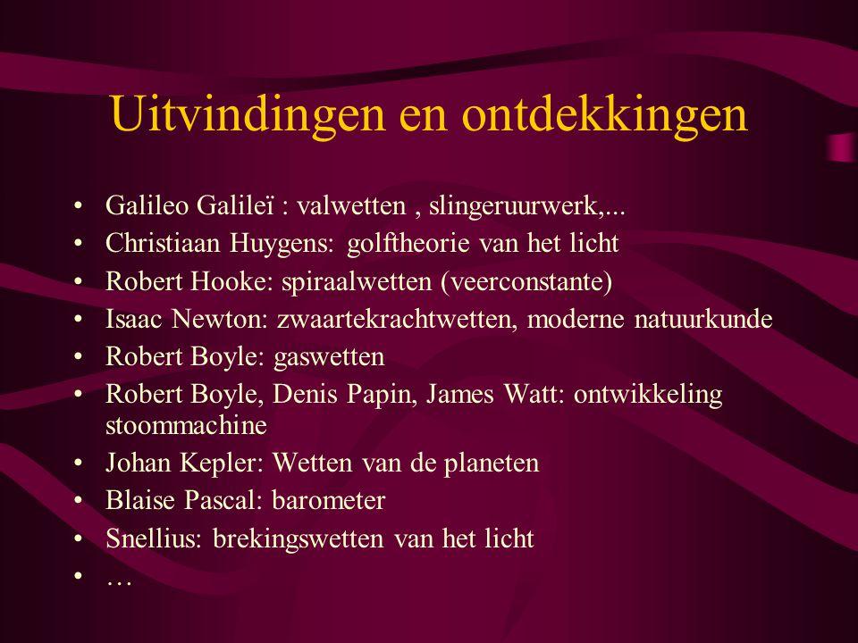 Uitvindingen en ontdekkingen Galileo Galileï : valwetten, slingeruurwerk,... Christiaan Huygens: golftheorie van het licht Robert Hooke: spiraalwetten