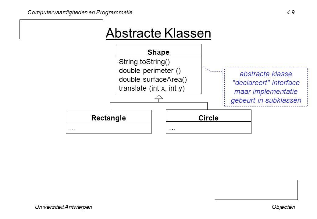 Computervaardigheden en Programmatie Universiteit AntwerpenObjecten 4.10 public abstract class Naamsubklasse extends Naamsuperklasse { … public abstract type naamProcedure (parameters); } Abstracte Klasse declaratie (vorm) abstract voor de klasse abstract voor methodes … zonder implementatie (geen { …}