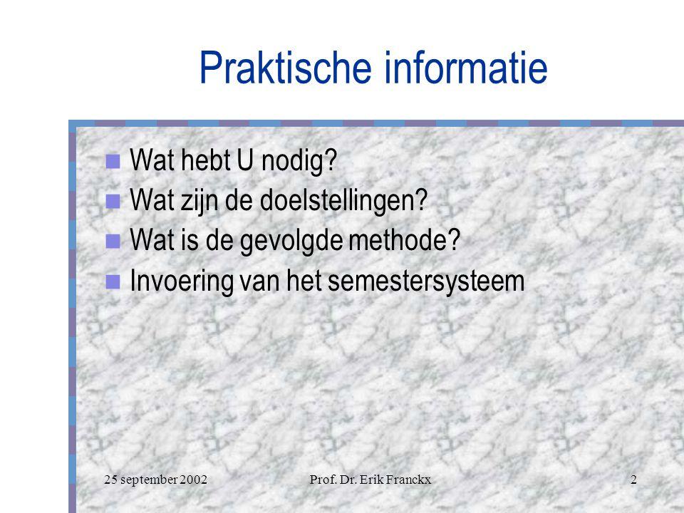 25 september 2002Prof.Dr. Erik Franckx2 Praktische informatie Wat hebt U nodig.