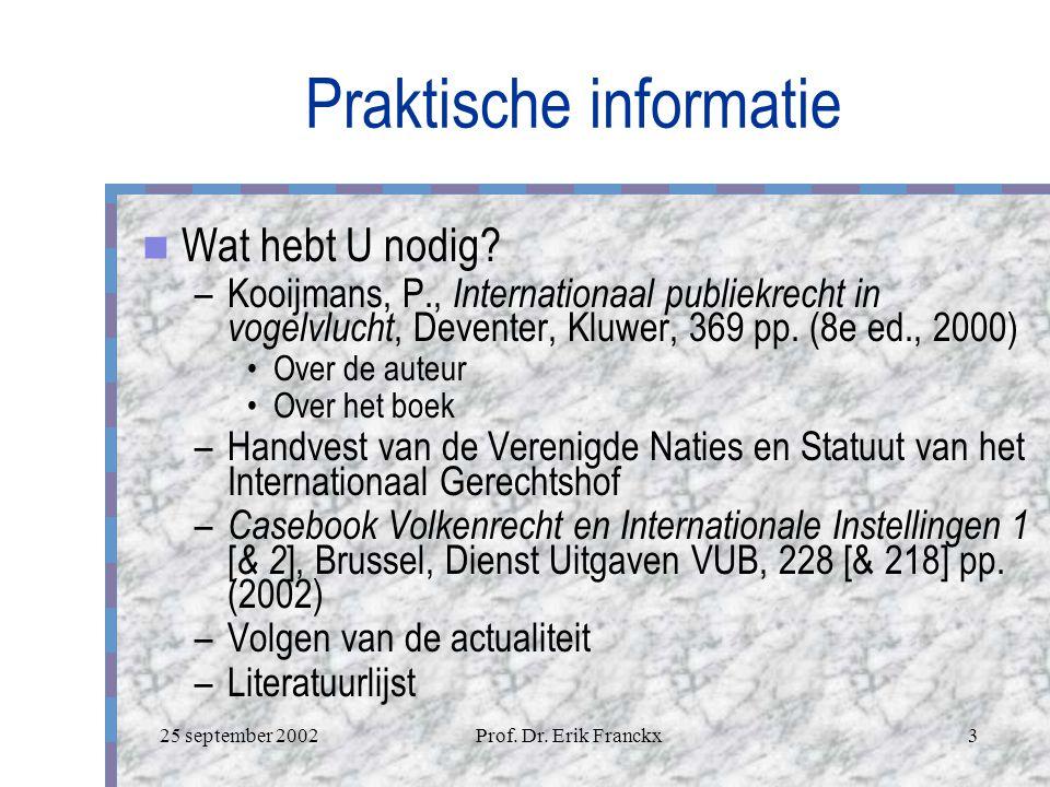 25 september 2002Prof.Dr. Erik Franckx3 Praktische informatie Wat hebt U nodig.