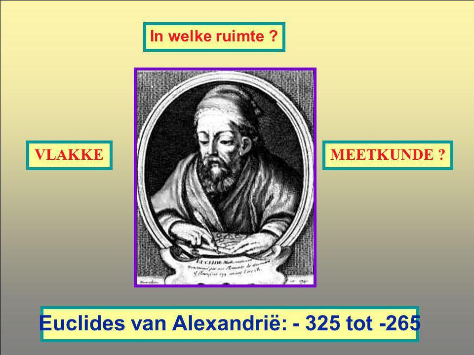 In welke ruimte ? Euclides van Alexandrië: - 325 tot -265 VLAKKEMEETKUNDE ?