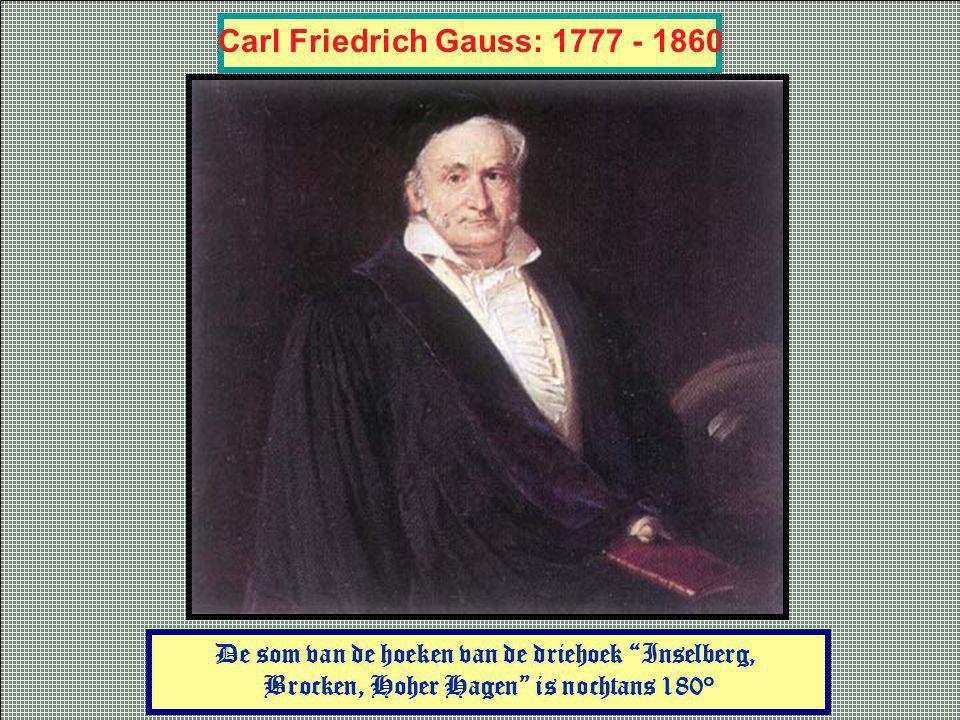 Carl Friedrich Gauss: 1777 - 1860 De som van de hoeken van de driehoek Inselberg, Brocken, Hoher Hagen is nochtans 180°