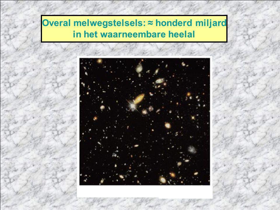 Overal melwegstelsels: ≈ honderd miljard in het waarneembare heelal