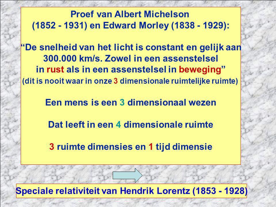 Proef van Albert Michelson (1852 - 1931) en Edward Morley (1838 - 1929): De snelheid van het licht is constant en gelijk aan 300.000 km/s.