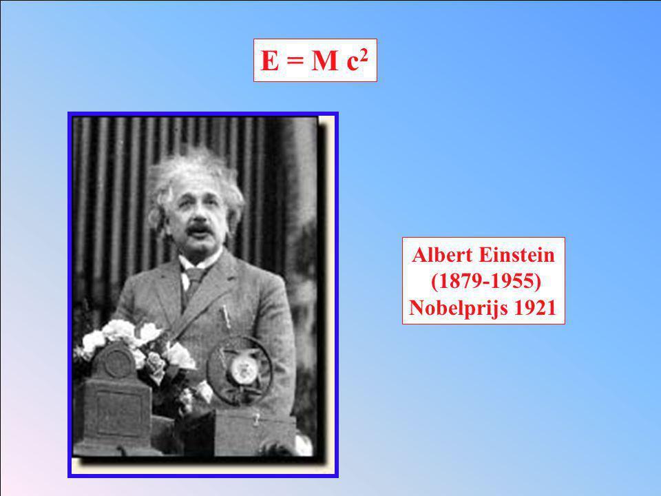 E = M c 2 Albert Einstein (1879-1955) Nobelprijs 1921