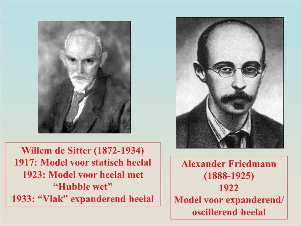 Alexander Friedmann (1888-1925) 1922 Model voor expanderend/ oscillerend heelal Willem de Sitter (1872-1934) 1917: Model voor statisch heelal 1923: Model voor heelal met Hubble wet 1933: Vlak expanderend heelal