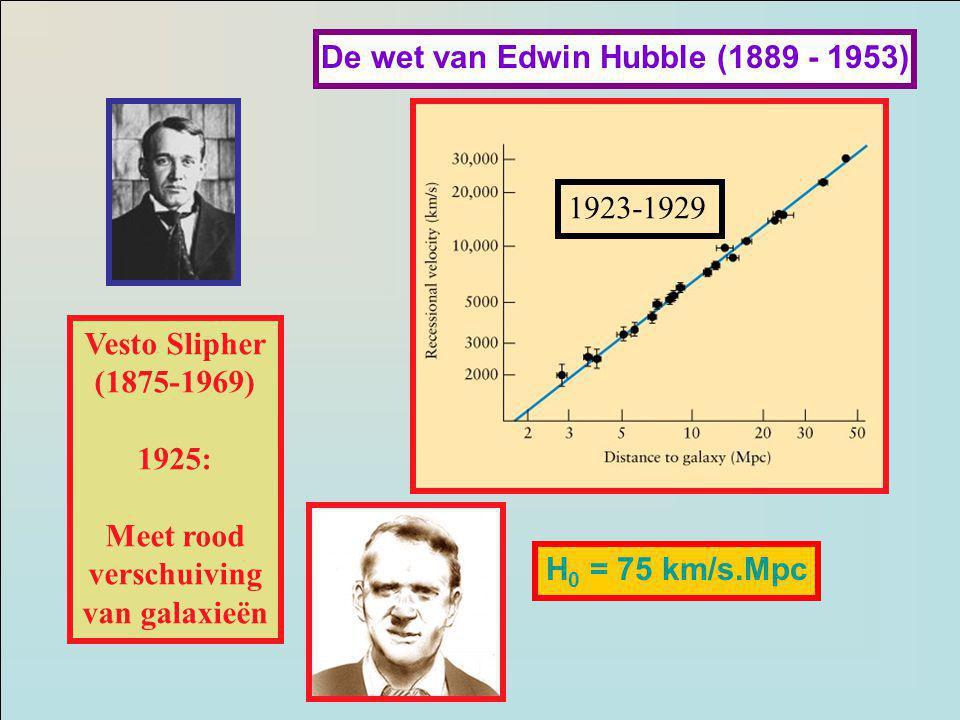 Vesto Slipher (1875-1969) 1925: Meet rood verschuiving van galaxieën De wet van Edwin Hubble (1889 - 1953) H 0 = 75 km/s.Mpc 1923-1929
