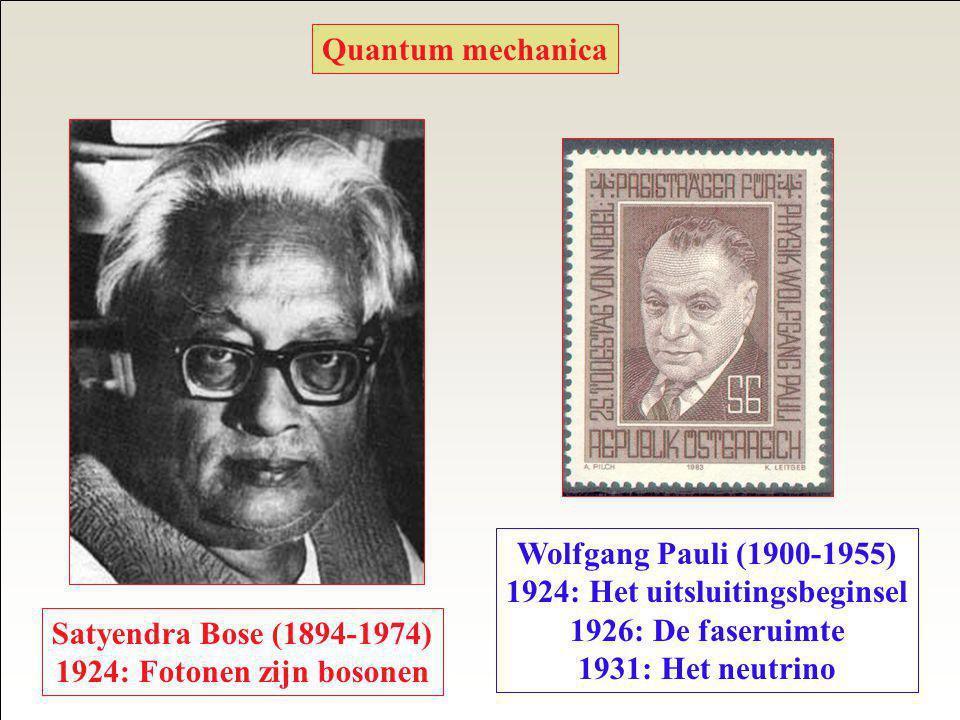 Quantum mechanica Satyendra Bose (1894-1974) 1924: Fotonen zijn bosonen Wolfgang Pauli (1900-1955) 1924: Het uitsluitingsbeginsel 1926: De faseruimte 1931: Het neutrino
