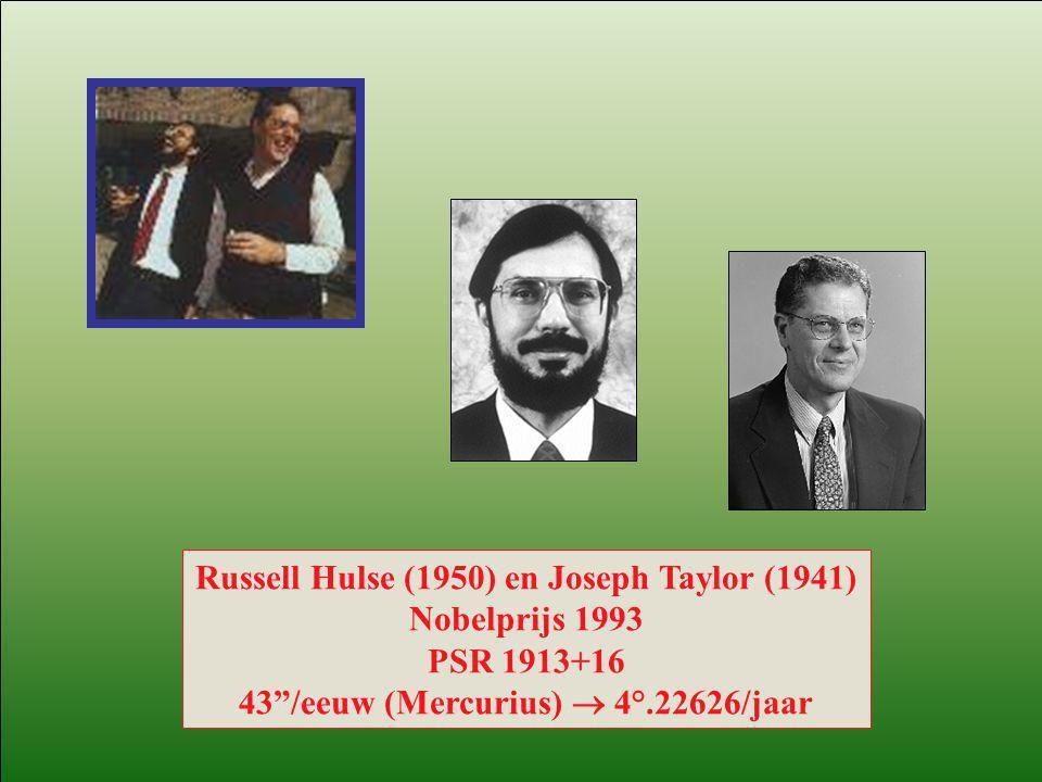 """Russell Hulse (1950) en Joseph Taylor (1941) Nobelprijs 1993 PSR 1913+16 43""""/eeuw (Mercurius)  4°.22626/jaar"""