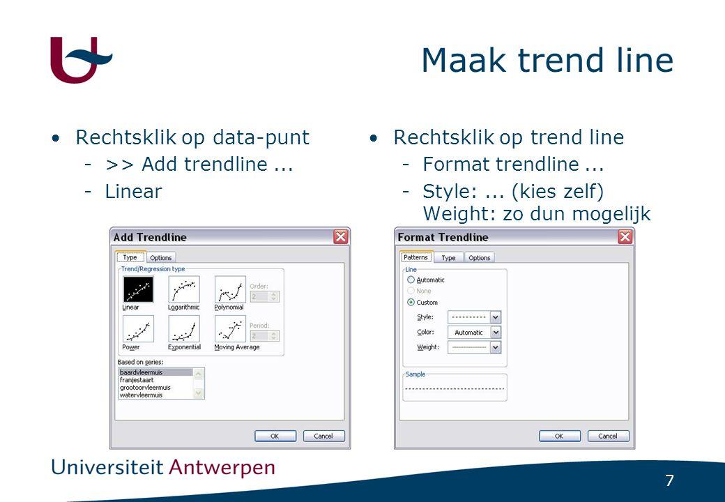 7 Maak trend line Rechtsklik op data-punt ->> Add trendline... -Linear Rechtsklik op trend line -Format trendline... -Style:... (kies zelf) Weight: zo