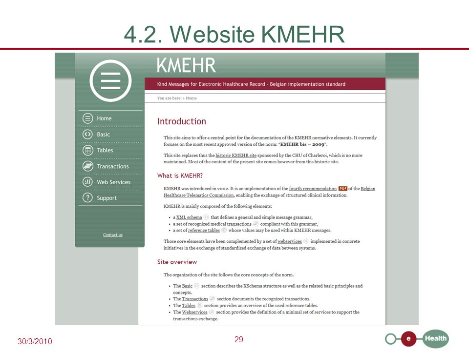 29 30/3/2010 4.2. Website KMEHR
