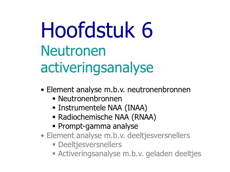 Hoofdstuk 6 Neutronen activeringsanalyse Element analyse m.b.v.