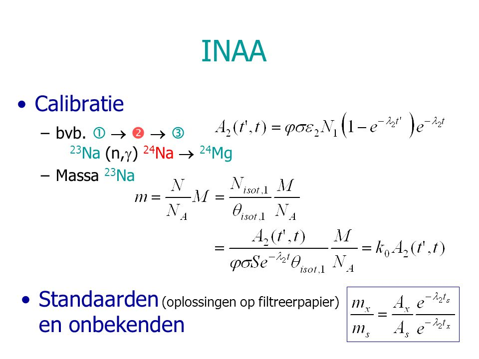INAA Calibratie –bvb.