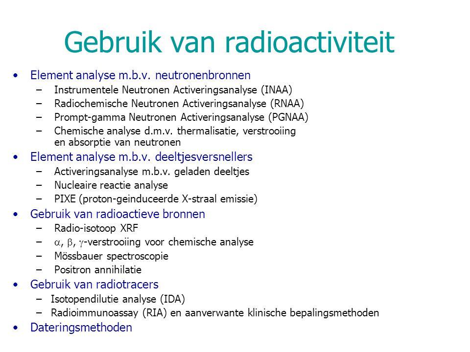 INAA – bestraling & meting Gebruik van epithermische/snelle neutronen –Cd: grote  voor thermische neutronen –Bestraling 'onder Cd': monsters in Cd omhulsel ep.n.