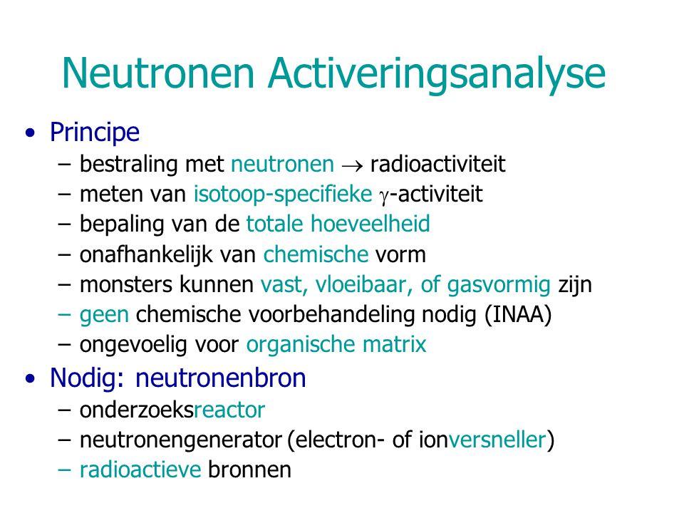 Neutronen Activeringsanalyse Principe –bestraling met neutronen  radioactiviteit –meten van isotoop-specifieke  -activiteit –bepaling van de totale hoeveelheid –onafhankelijk van chemische vorm –monsters kunnen vast, vloeibaar, of gasvormig zijn –geen chemische voorbehandeling nodig (INAA) –ongevoelig voor organische matrix Nodig: neutronenbron –onderzoeksreactor –neutronengenerator (electron- of ionversneller) –radioactieve bronnen
