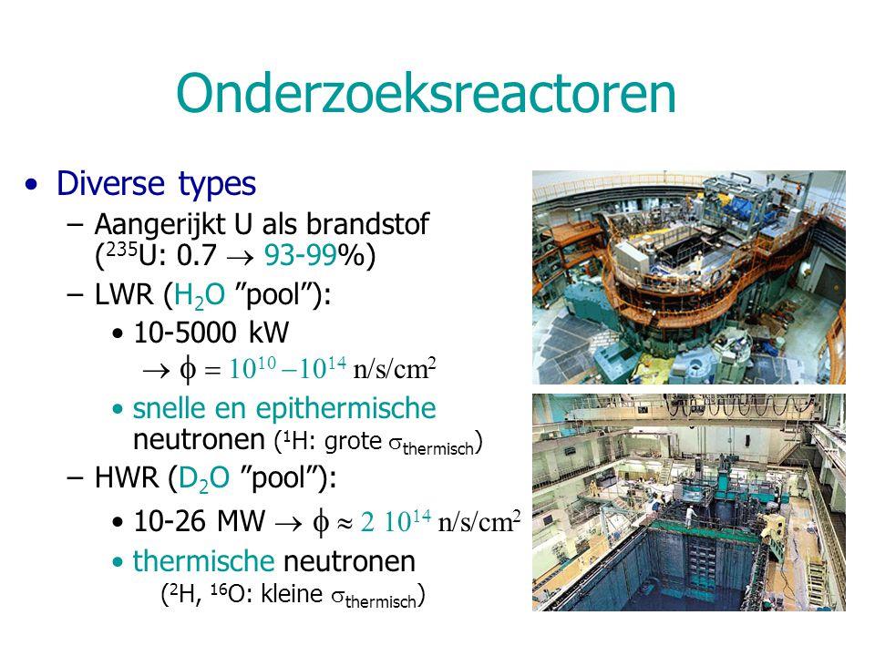 Onderzoeksreactoren Diverse types –Aangerijkt U als brandstof ( 235 U: 0.7  93-99%) –LWR (H 2 O pool ): 10-5000 kW        n/s/cm 2 snelle en epithermische neutronen ( 1 H: grote  thermisch ) –HWR (D 2 O pool ): 10-26 MW      n/s/cm 2 thermische neutronen ( 2 H, 16 O: kleine  thermisch )