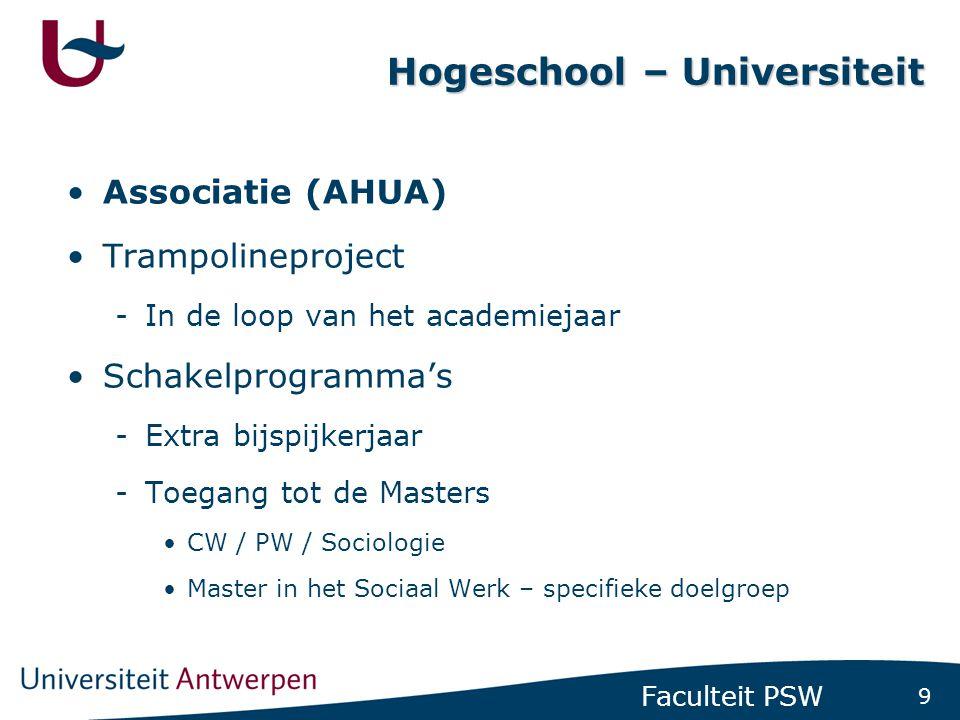 9 Faculteit PSW Hogeschool – Universiteit Associatie (AHUA) Trampolineproject -In de loop van het academiejaar Schakelprogramma's -Extra bijspijkerjaa