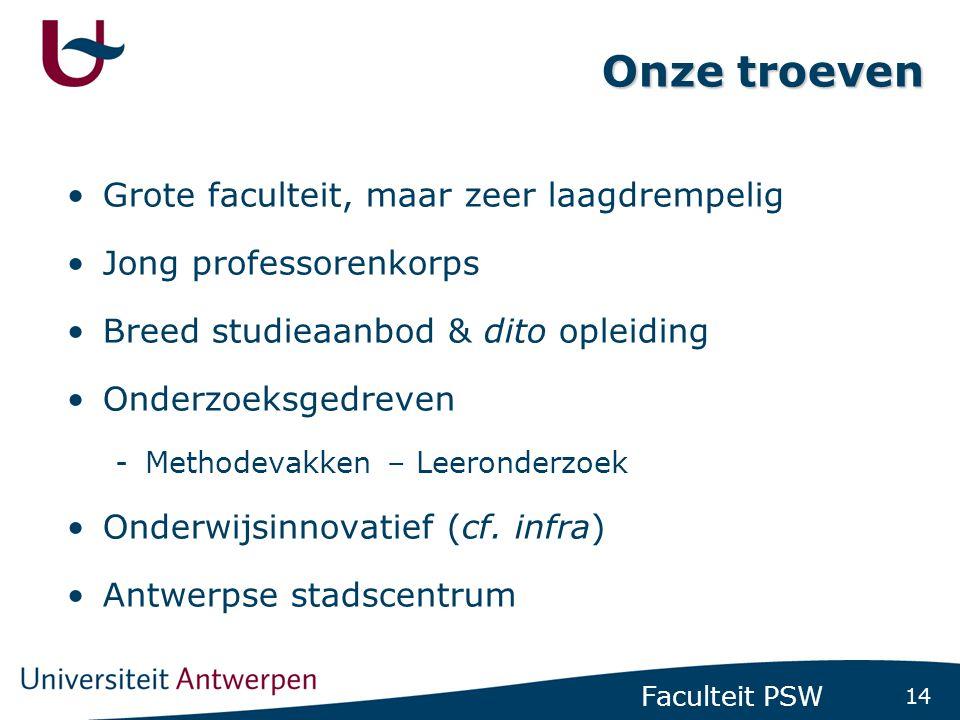 14 Faculteit PSW Onze troeven Grote faculteit, maar zeer laagdrempelig Jong professorenkorps Breed studieaanbod & dito opleiding Onderzoeksgedreven -M