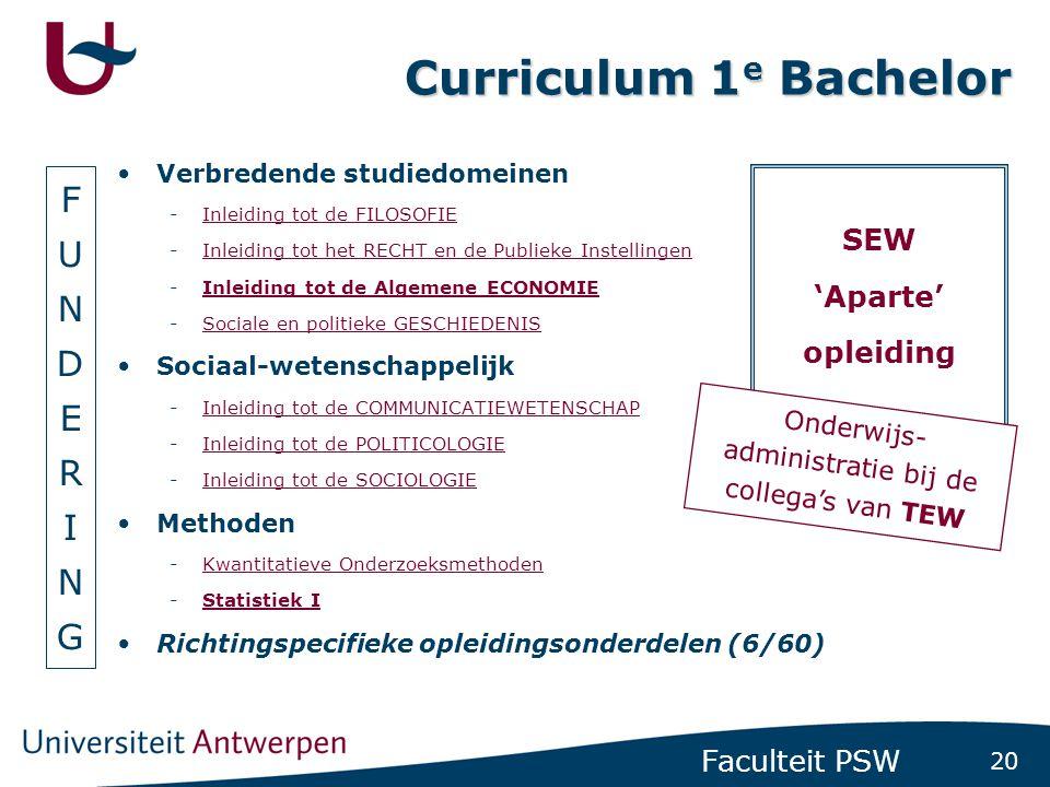 20 Faculteit PSW Curriculum 1 e Bachelor Verbredende studiedomeinen -Inleiding tot de FILOSOFIEInleiding tot de FILOSOFIE -Inleiding tot het RECHT en