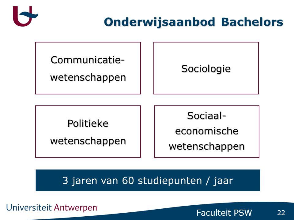 22 Faculteit PSW Onderwijsaanbod Bachelors Communicatie-wetenschappen Politiekewetenschappen Sociologie Sociaal-economischewetenschappen 3 jaren van 6