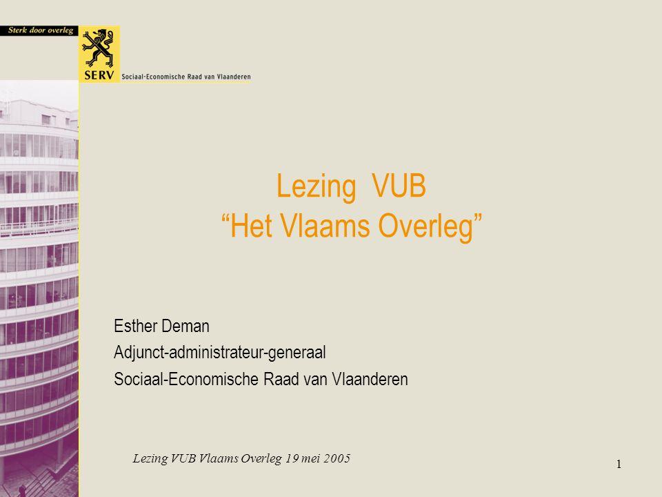 """Lezing VUB Vlaams Overleg 19 mei 2005 1 Lezing VUB """"Het Vlaams Overleg"""" Esther Deman Adjunct-administrateur-generaal Sociaal-Economische Raad van Vlaa"""