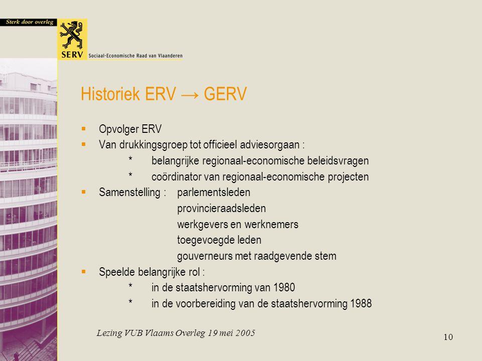Lezing VUB Vlaams Overleg 19 mei 2005 10 Historiek ERV → GERV  Opvolger ERV  Van drukkingsgroep tot officieel adviesorgaan : *belangrijke regionaal-