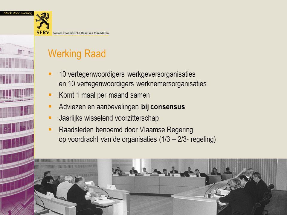 Lezing VUB Vlaams Overleg 19 mei 2005 17 Werking Raad  10 vertegenwoordigers werkgeversorganisaties en 10 vertegenwoordigers werknemersorganisaties 
