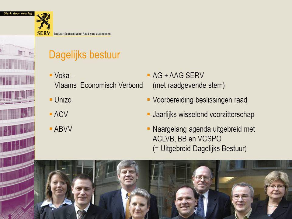 Lezing VUB Vlaams Overleg 19 mei 2005 18 Dagelijks bestuur  Voka – Vlaams Economisch Verbond  Unizo  ACV  ABVV  AG + AAG SERV (met raadgevende stem)  Voorbereiding beslissingen raad  Jaarlijks wisselend voorzitterschap  Naargelang agenda uitgebreid met ACLVB, BB en VCSPO (= Uitgebreid Dagelijks Bestuur)