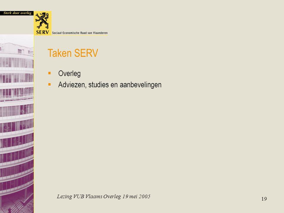 Lezing VUB Vlaams Overleg 19 mei 2005 19  Overleg  Adviezen, studies en aanbevelingen Taken SERV
