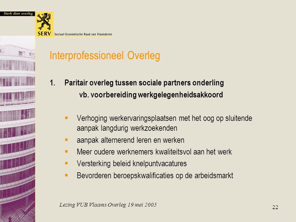 Lezing VUB Vlaams Overleg 19 mei 2005 22 Interprofessioneel Overleg 1.Paritair overleg tussen sociale partners onderling vb. voorbereiding werkgelegen