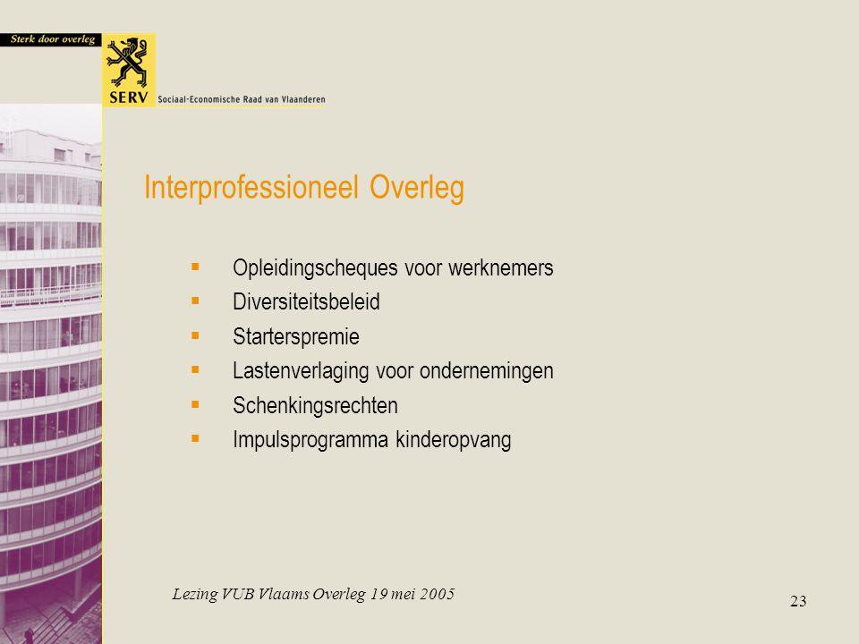 Lezing VUB Vlaams Overleg 19 mei 2005 23 Interprofessioneel Overleg  Opleidingscheques voor werknemers  Diversiteitsbeleid  Starterspremie  Lasten